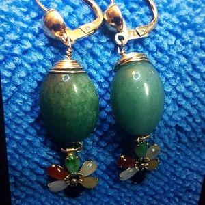 14k gold jade earrings